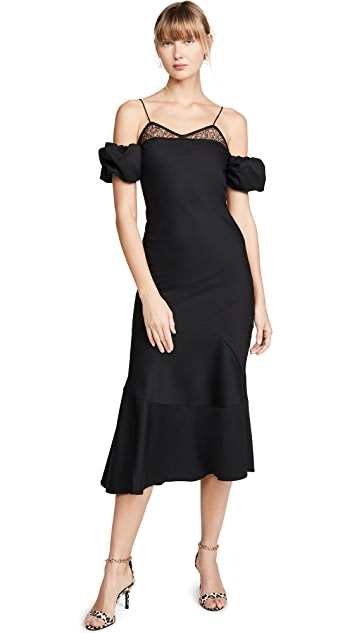 Anais Jourden Black Lace & Wool Midi Dress with Puff Sleeves