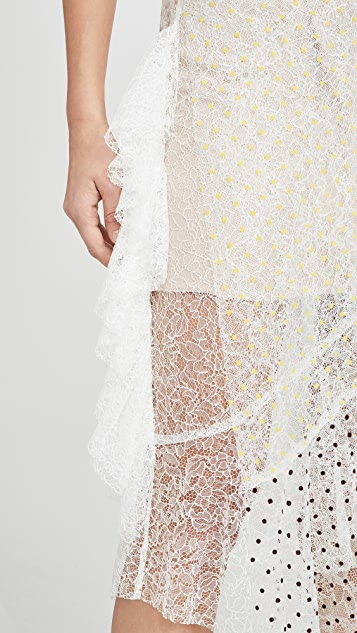 Anais Jourden Duo Lace Off Shoulder Midi Dress in White Rainbow