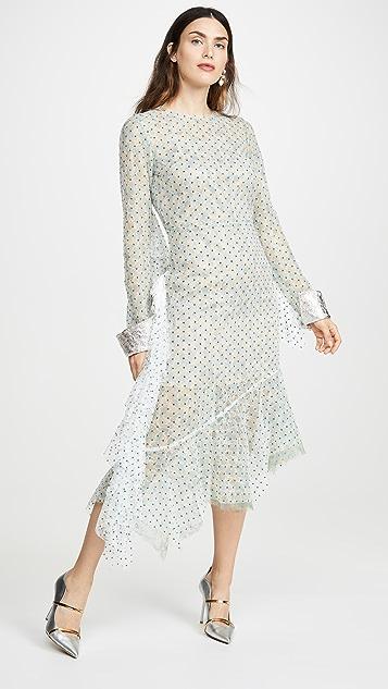 Anais Jourden 绿色双层蕾丝中长连衣裙