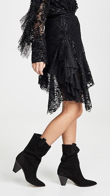 Anais Jourden Black Velvet Lace Mini Skirt