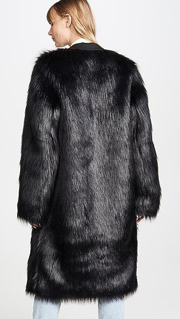 Anais Jourden 三口袋黑色仿皮毛长款西装外套