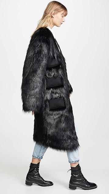 Anais Jourden Черный макси-блейзер из искусственного меха с тремя карманами