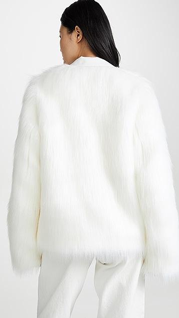 Anais Jourden White Faux Fur Blazer
