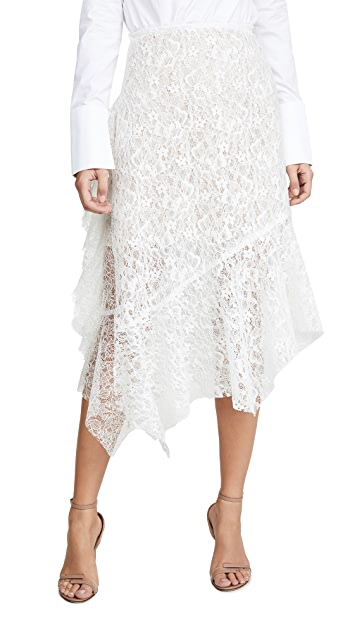 Anais Jourden White Velvet Duo Lace Midi Skirt