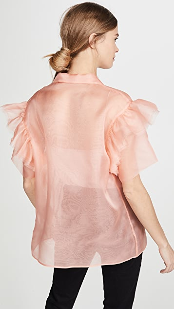 Anais Jourden Organza Shirt with Ruffled Short Sleeves