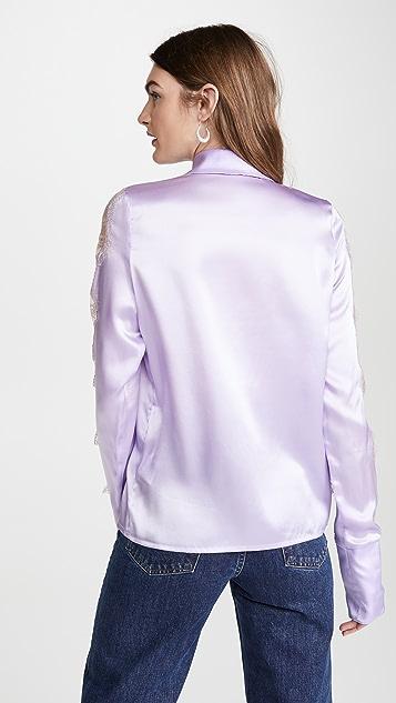Anais Jourden Lilac Silk Satin Shirt