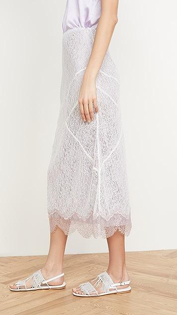 Anais Jourden Кружевная миди-юбка с металлизированным кружевным нижним краем