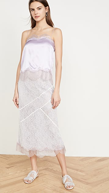 Anais Jourden 蕾丝中长半身裙配以金属色蕾丝下摆