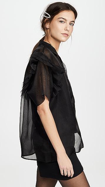 Anais Jourden 荷叶边短袖透明硬纱衬衫