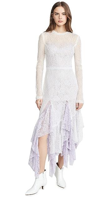 Anais Jourden White Duo Lace Midi Dress
