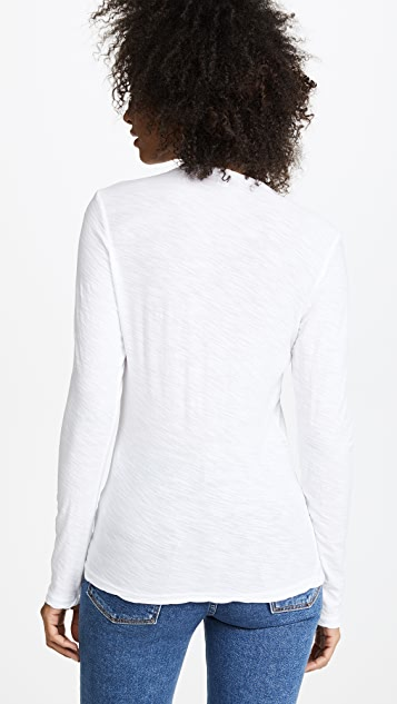 James Perse Long Sleeve Slub Crew Tee
