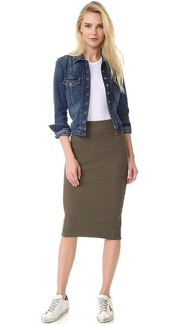 James Perse Heavy Rib Skinny Skirt