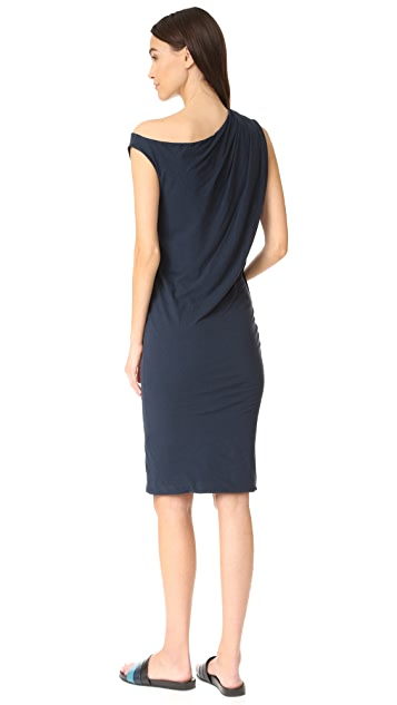 James Perse One Shoulder Draped Dress