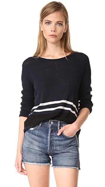James Perse Stripe Oversize Crew Sweater