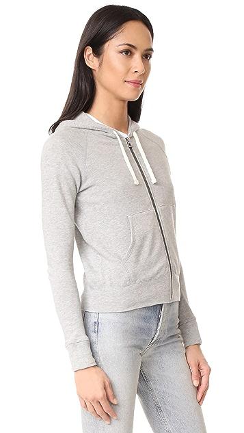 James Perse Classic Long Sleeve Zip Up Hoodie