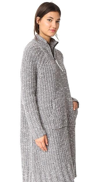 James Perse Ribbed Zip Up Cardigan