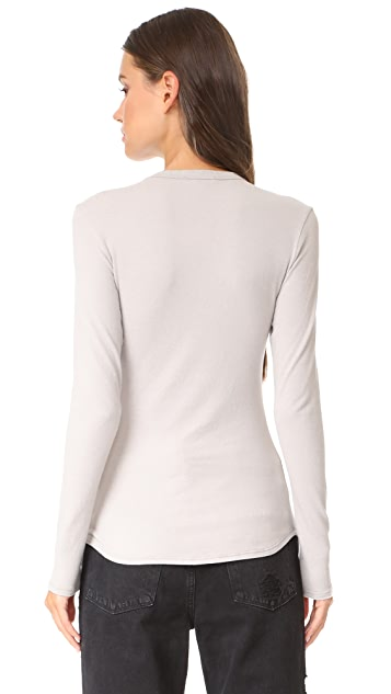 James Perse Brushed Jersey Long Sleeve Crew Tee