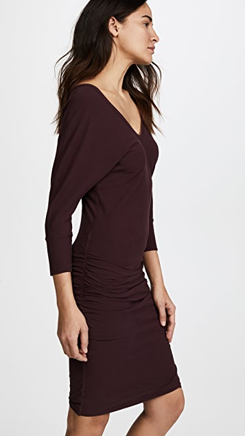 James Perse High Twist Jersey Deep V Dress