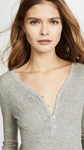 James Perse Rib Henley Top