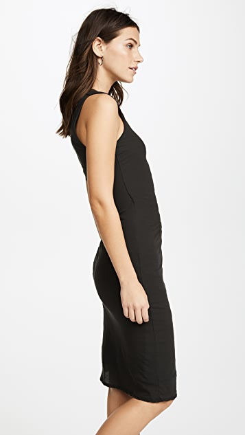James Perse Side Draped Jersey Dress