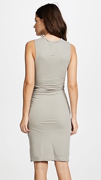 James Perse Side Draped Jersey Dress