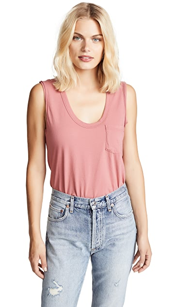 James Perse Sleeveless Pocket Tank Top