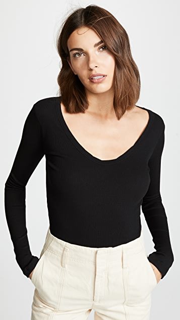 e785e7a7ccf641 James Perse Rib Deep V Neck | SHOPBOP