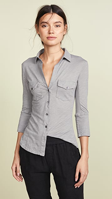 c2272a8f1 James Perse Contrast Panel Shirt | SHOPBOP