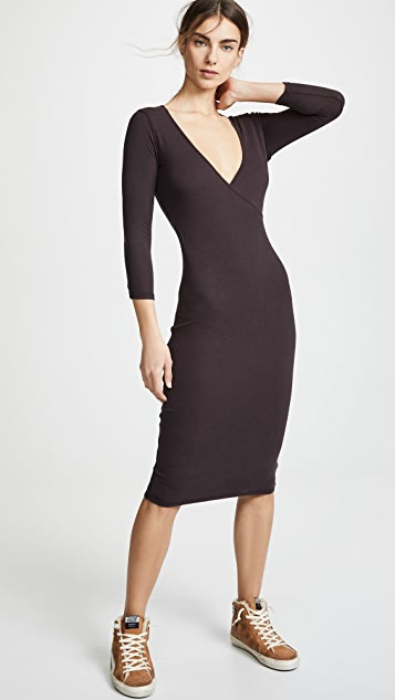 James Perse Sueded Jersey Wrap Dress