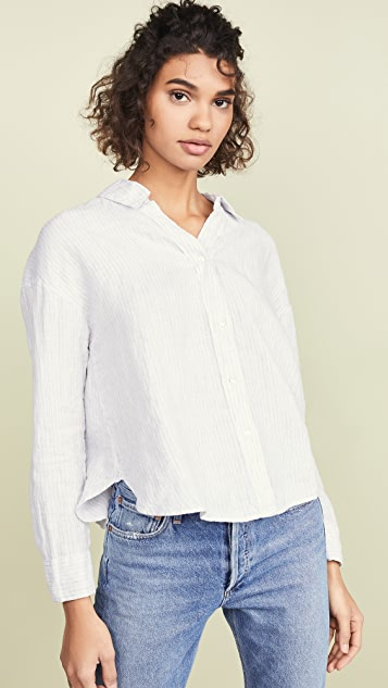 James Perse Relaxed Drape Button Down Shirt