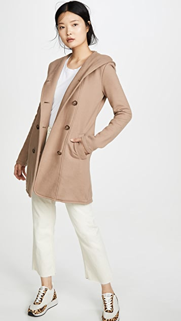James Perse Двубортное пальто с капюшоном