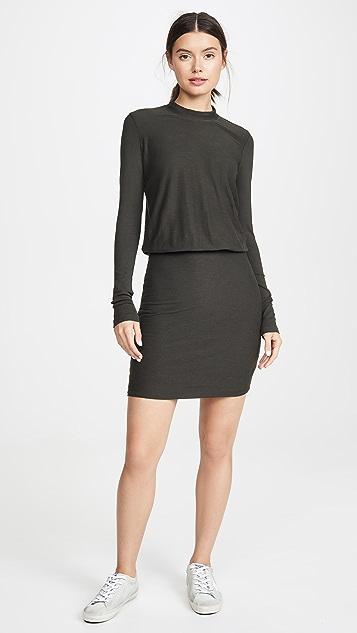 James Perse Свободное платье с рукавами в рубчик
