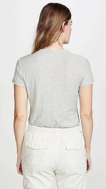James Perse Прозрачная тонкая футболка с округлым вырезом