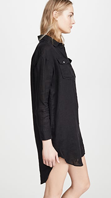James Perse Military Linen Shirt Dress