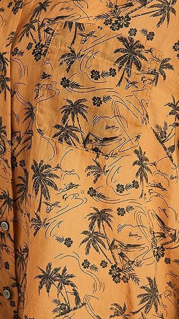 James Perse Island Print Aloha Shirt