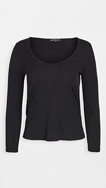James Perse Scoop Neck Rib Top
