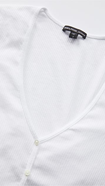 James Perse 罗纹开襟衫上衣