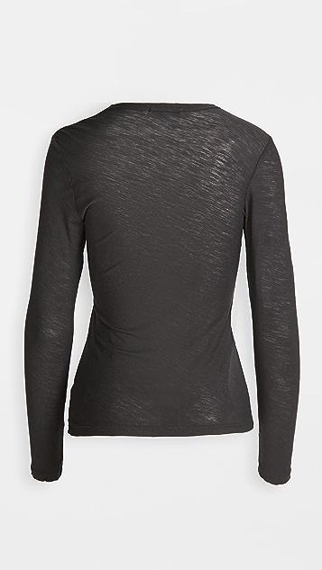 James Perse 轻薄竹节纹长袖 T 恤