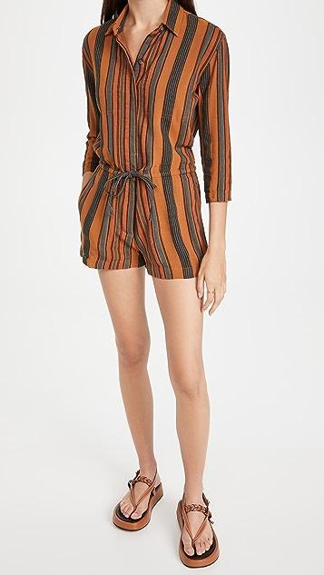 James Perse Short Vintage Stripe Jumpsuit