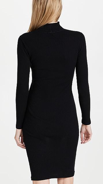 James Perse Contrast Rib Turtleneck Dress