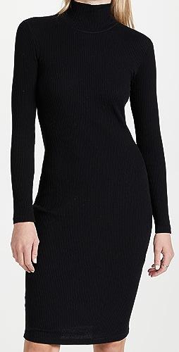 James Perse - Contrast Rib Turtleneck Dress