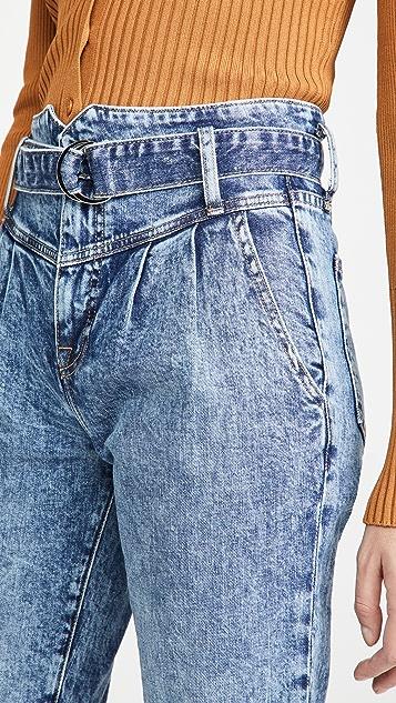 Jonathan Simkhai STANDARD Theo 系腰带裥褶牛仔裤