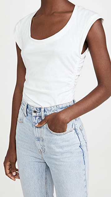 Jonathan Simkhai STANDARD Bower Cotton Sleeveless Thong Bodysuit