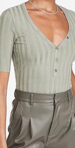 Jonathan Simkhai STANDARD - Connie Compact Rib Henley Thong Bodysuit