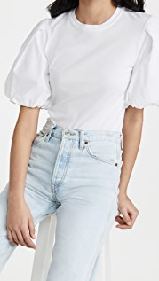Jonathan Simkhai STANDARD Denise Cotton Puff Sleeve Top