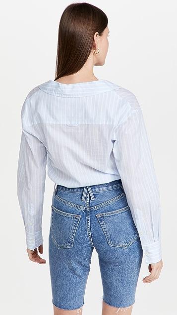 Jonathan Simkhai STANDARD Olivia Oxford Open Neck Shirting Bodysuit