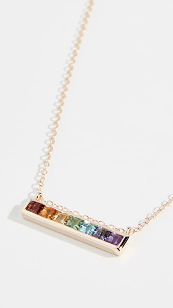 Jane Taylor 14k Channel Set Bar Necklace - Yellow Gold/Multi