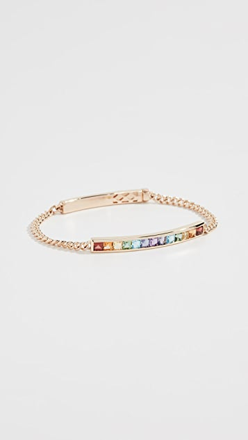 Jane Taylor 14k Square ID Bracelet - Yellow Gold/Rainbow