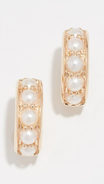 Jane Taylor 14k Pearl  Huggie Earrings