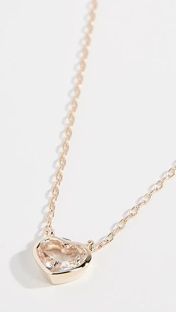 Jane Taylor Колье из 14-каратного золота с крупным сердцем в закрепке «безель»